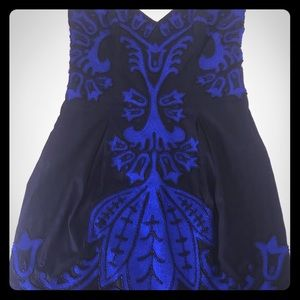 Evening dress black with blue overlay and beading